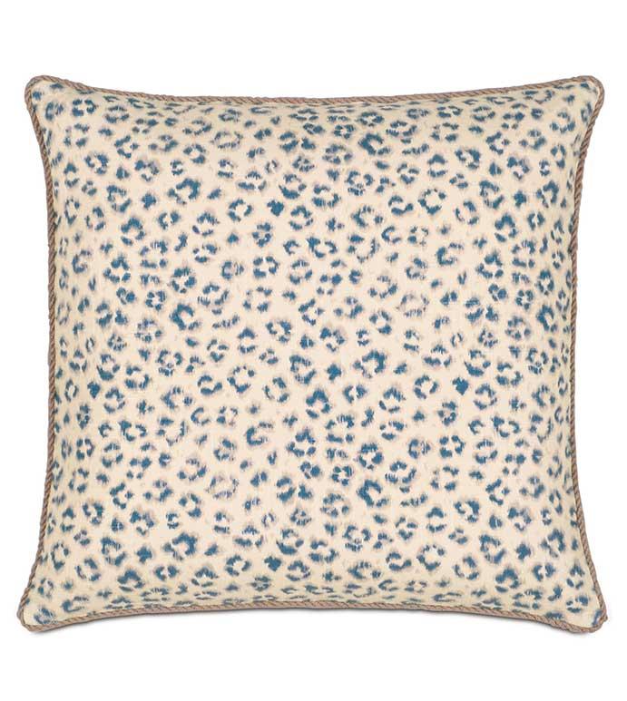 Tabby Sapphire With Cord - BLUE CHEETAH PRINT PILLOW,BLUE AND WHITE,WHITE AND BLUE,ANIMAL PRINT PILLOW,ANIMAL PRINT PILLOW,LEOPARD PRINT PILLOW,BLUE LEOPARD PRINT,NATURAL,ECLECTIC,BLUE AND WHITE CHEETAH