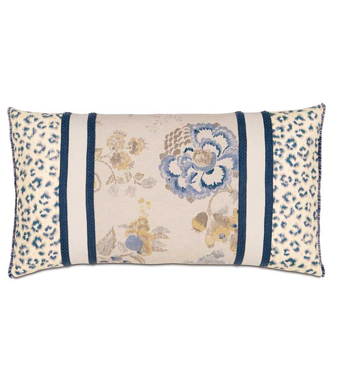 Emory Insert With Brush Fringe - BLUE CHEETAH PRINT PILLOW,BLUE FLORAL PILLOW,LEOPARD PRINT PILLOW,ASIAN PILLOW,BLUE ASIAN STYLE PILLOW,COLLAGE PILLOW,CUTOUT PILLOW,BLUE AND WHITE,BLUE AND TAN,STRIPED,OBLONG,CORD