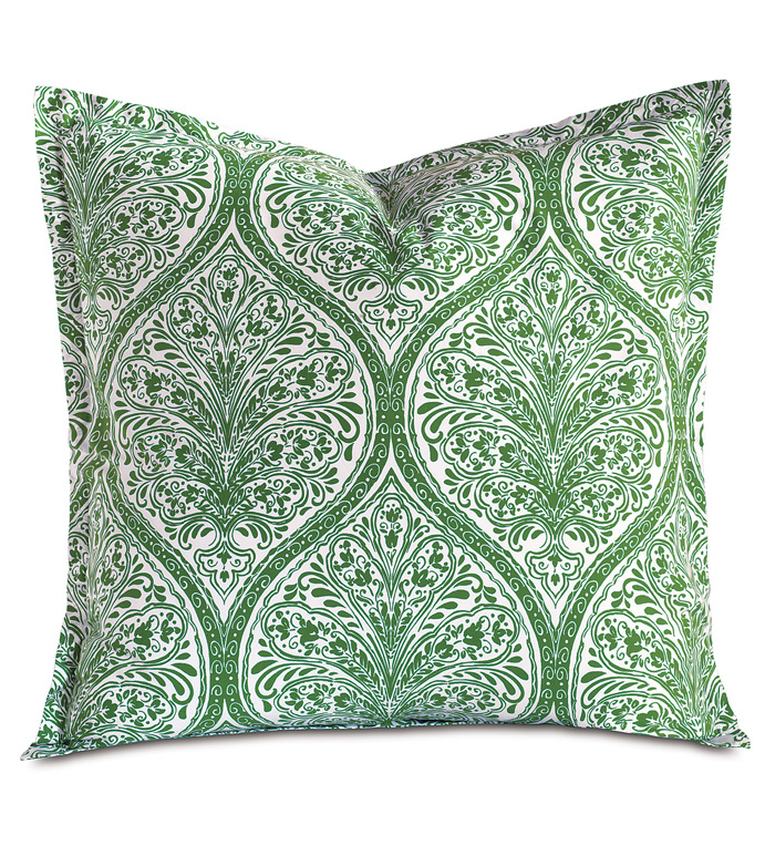 Adelle Percale Euro Sham In Grass - EURO SHAM,PILLOW,DECORATIVE PILLOW,GREEN,BRIGHT,COLORFUL,OGEE,MEDALLION,DAMASK,JACQUARD,EASTERN ACCENTS,PATTERNED,PRINT,LUXURY BEDDING,FINE LINENS,PERCALE,ITALIAN FINE LINENS,