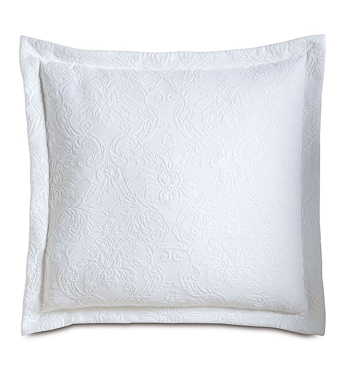 Sandrine White Euro Sham - PILLOW,EURO SHAM,MATELASSE PILLOW,SQUARE PILLOW,TOSS CUSHION,THROW PILLOW,ACCENT PILLOW,DOUBLE SIDED PILLOW,CUSTOMIZED PILLOW,DECORATIVE PILLOW,EURO PILLOW,BED PILLOW,WHITE PILLOW