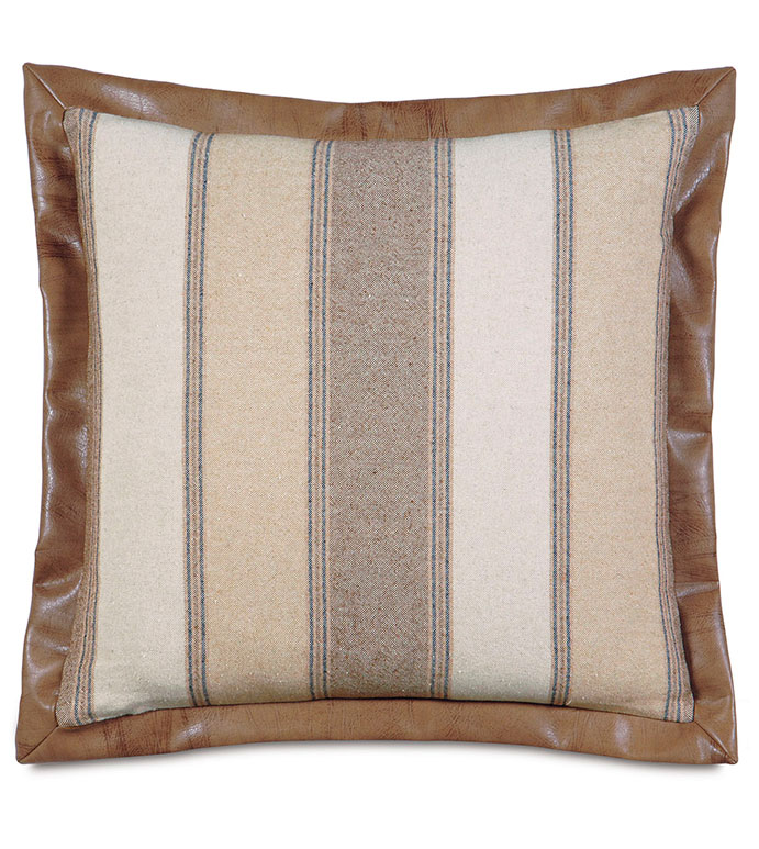 Aiden Striped Euro Sham - EURO SHAM PILLOW,FAUX LEATHER,SADDLE LEATHER,RUSTIC,LODGE,MOUNTAIN,RUSTIC PILLOW,COUNTRY,VERTICAL STRIPE,NEUTRAL,TAN,CREAM,IVORY,CARAMEL,LODGE PILLOW,SOUTHWEST,LEATHER BORDER