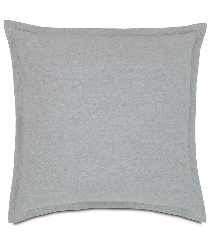 Sheldon Glaze Euro Sham - EURO SHAM,SQUARE,SELF FLANGE,GREY,WHITE,BLUE,METALLIC,SOLID,SILVER,DECORATIVE PILLOW,BEDDING,BEDROOM,COTTON,TRANSITIONAL,SOFT,ZIPPER CLOSURE,LODGE CABIN,MOUNTAIN,