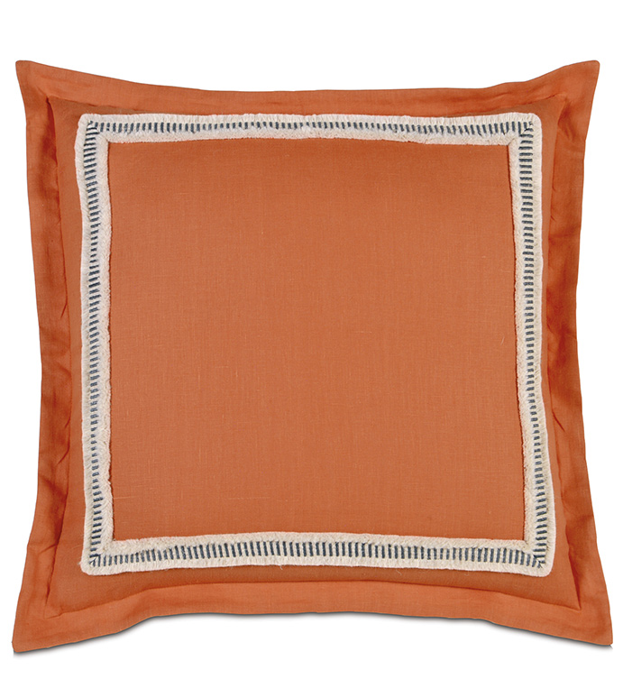 Breeze Tangerine Euro Sham - EURO SHAM,PILLOW,SQUARE,TANGERINE,ORANGE,WHITE,BLACK,PATTERNED,CONTEMPORARY,BEDDING,DECORATIVE PILLOW,SELF FLANGE,BEDROOM,MITERED TRIM FACE,FRINGE,STRIPED,AZTEC,BEACH HOUSE