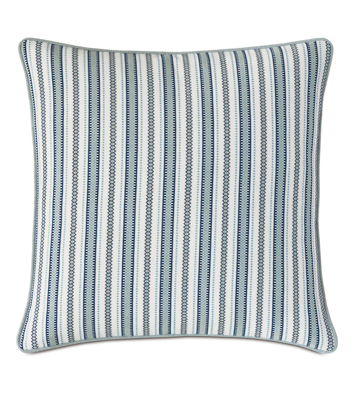 Hugo Stripe Euro Sham - BLUE,GREEN,STRIPED,STRIPES,STRIPE,KNIFE EDGE,BOYS,KIDS,CHILDRENS,MODERN,CHIC,27X27,SQUARE,DECORATIVE PILLOW,THROW PILLOW,ACCENT PILLOW,EURO SHAM,SHAM
