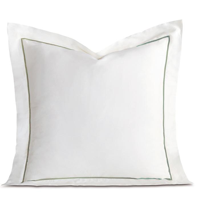 Linea Velvet Ribbon Euro Sham In White & Aloe - ,