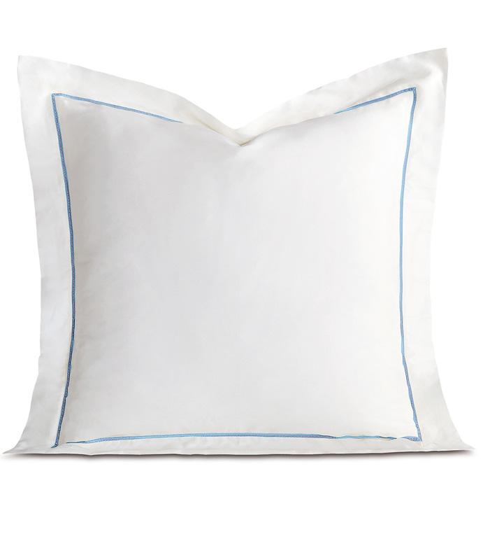 Linea Velvet Ribbon Euro Sham In White & Azure - ,