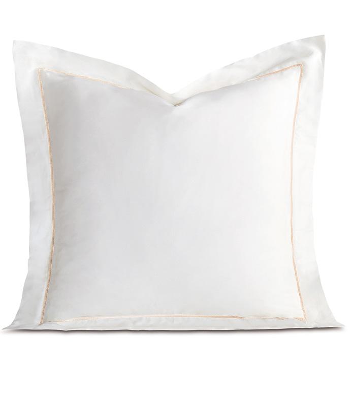 Linea Velvet Ribbon Euro Sham In White & Ecru - ,