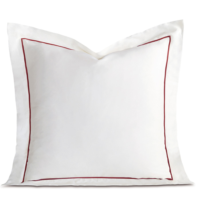 Linea Velvet Ribbon Euro Sham In White & Shiraz - ,