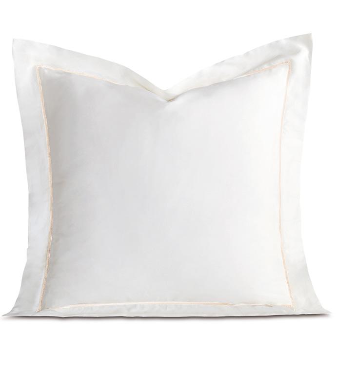 Linea Velvet Ribbon Euro Sham In White & White - ,