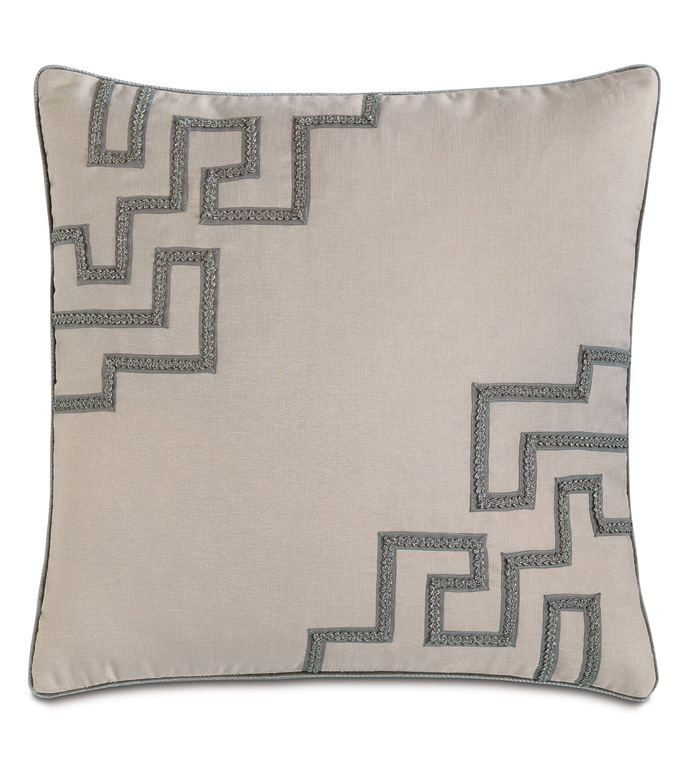 Mack Heather With Gimp - PILLOW,NEUTRAL,GREY,ACCENT,SHINY,METALLIC,GLAM,GRAY,SILVER,PATTERNED,CONTEMPORARY,BEDDING,LUXURY BEDDING,HOME DECOR,DECORATIVE PILLOW,TRIM,GEOMETRIC,BEDROOM,BORDER,