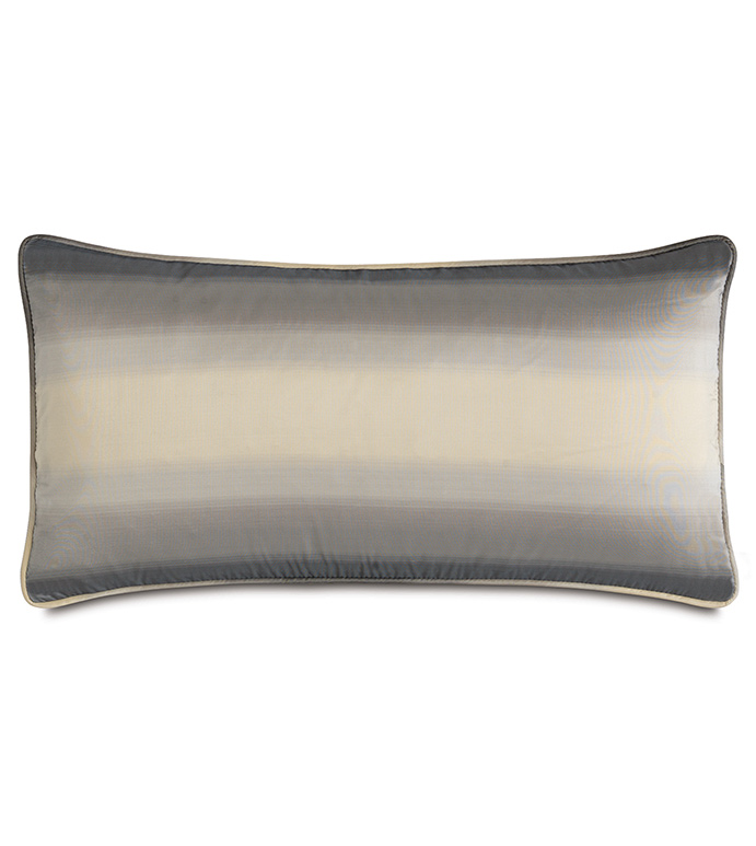 Soni Slate With Sm Welt - PILLOW,NEUTRAL,GREY,CREAM,SHINY,METALLIC,GLAM,GRAY,SILVER,PATTERNED,CONTEMPORARY,SILK,BEDDING,LUXURY BEDDING,HOME DECOR,DECORATIVE PILLOW,WELT,OMBRE,BEDROOM,STRIPED,