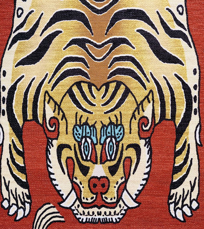 Fenning - FABRIC,FABRIC YARDAGE,FABRIC BY THE YARD,UPHOLSTERY,UPHOLSTERY FABRIC,UPHOLSTERY WEIGHT,TIGER,CHINESE,ASIAN,CHINESE TIGER,RED,WOVEN,TIGER DESIGN,TIGER FABRIC,STYLIZED,ASIAN TIGER,