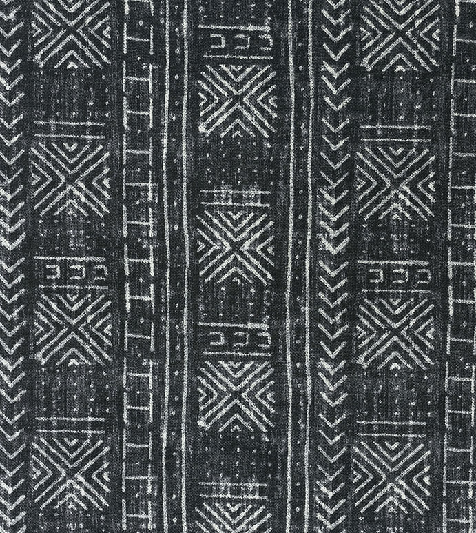 Seydou Black - ,outdoor fabric,fabric yardage,upholstery,ethnic fabric,global decor,graphic pattern,black fabric,abstract print,printed fabric,