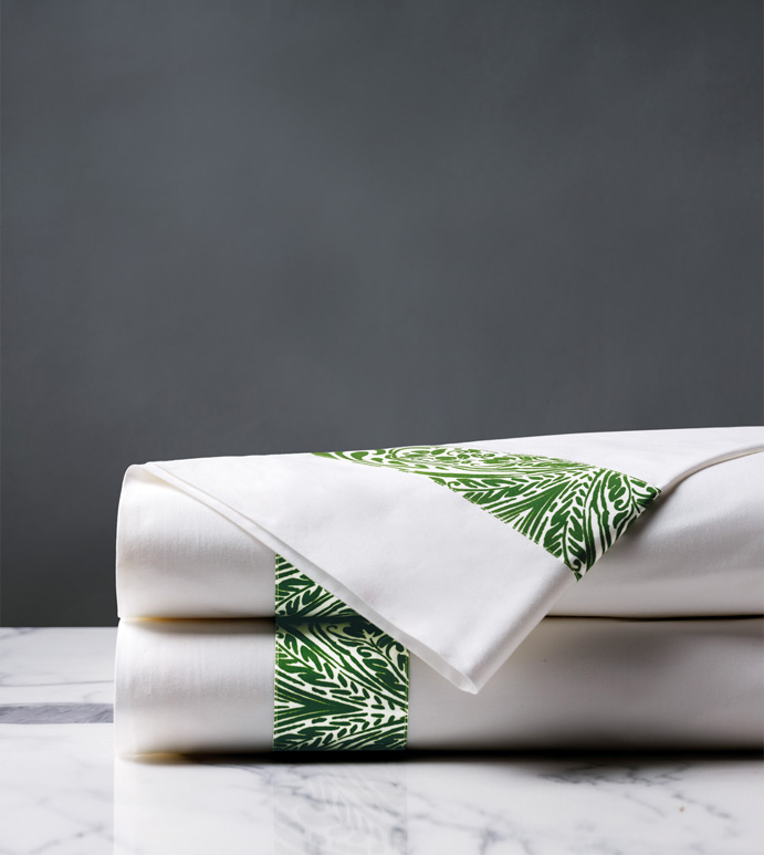 Adelle Percale Flat Sheet In Grass - 100% COTTON,EGYPTIAN COTTON,ITALIAN,FINE LINENS,LINENS,SHEETS,SHEETING,FLAT SHEET,DAMASK,DAMASK PATTERN,GREEN,TRADITIONAL,OGEE,BED LINENS,EASTERN ACCENTS,PERCALE,MADE IN AMERICA,