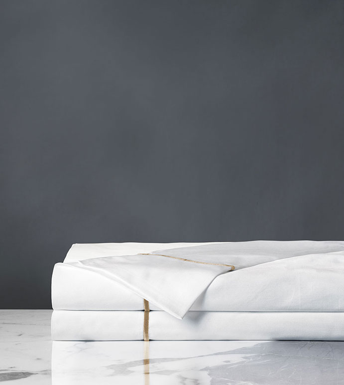 Linea Velvet Ribbon Flat Sheet In White & Antique - SATEEN,SHEETS,SHEETING,FINE LINENS,100% COTTON,COTTON,COTTON SATEEN,SILKY,VELVET,RIBBON,BORDER,THREAD COUNT,ITALIAN,EGYPTIAN COTTON,FLANGE,FLAT SHEET,SHEET,MADE IN USA,MADE IN USA