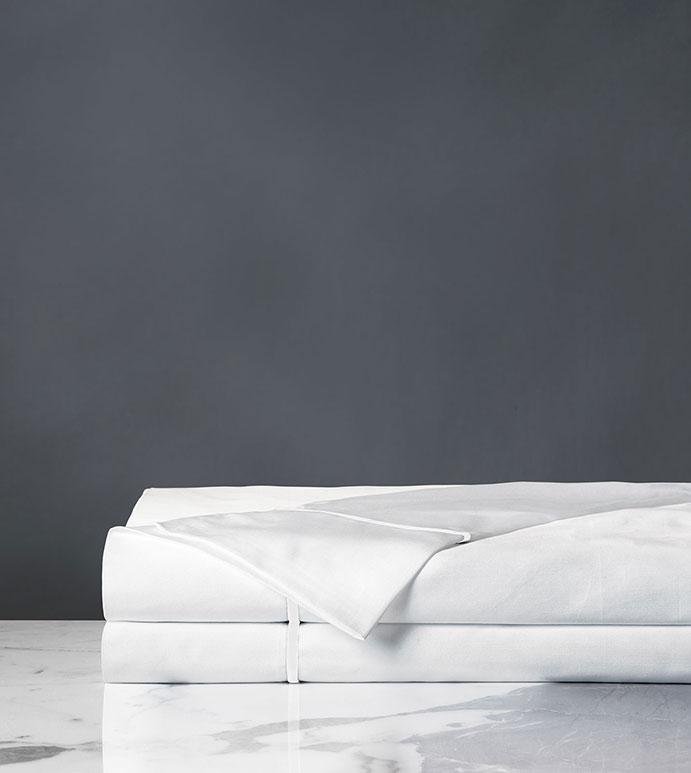 Linea Velvet Ribbon Flat Sheet In White & White