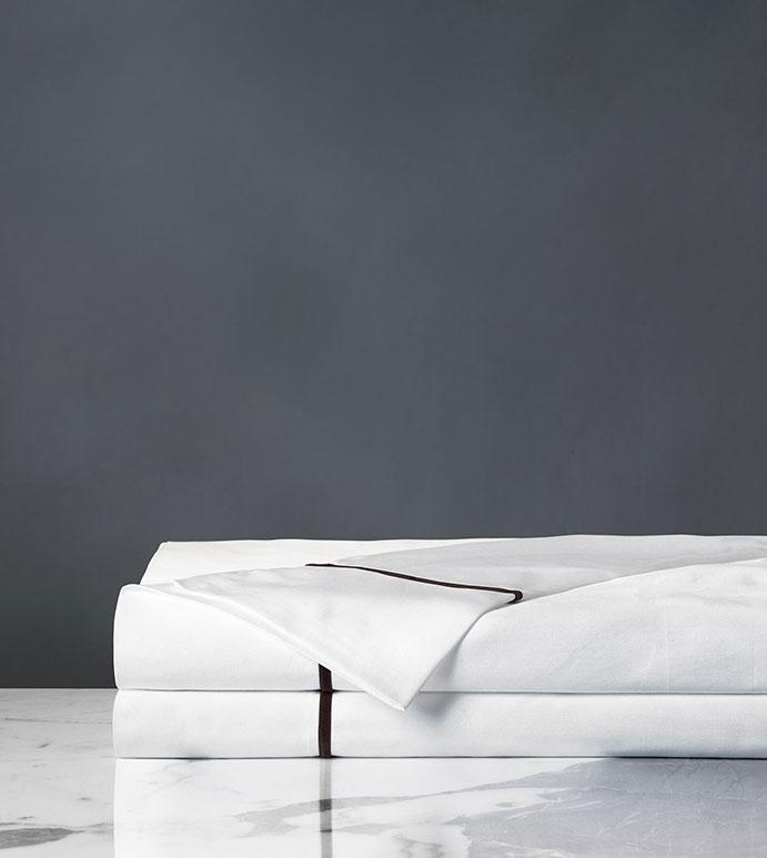 Linea Velvet Ribbon Flat Sheet In White & Walnut