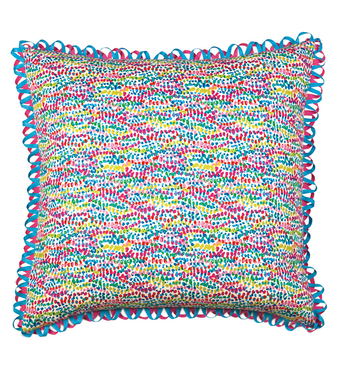 Gigi Speckled Decorative Pillow - DECORATIVE PILLOW,ACCENT PILLOW,THROW PILLOW,MULTICOLOR,CONFETTI,POLKA DOT,24X24,SQUARE,PILLOW,PASTEL,HOME DECOR,ACCESSORIES,MADE IN USA,100% COTTON