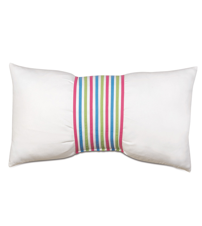 Gigi Cuff Decorative Pillow - DECORATIVE PILLOW,ACCENT PILLOW,THROW PILLOW,MULTICOLORED,KIDS,CHILDRENS,BOW,GIRLS,PINK,BOLSTER,STRIPED,STRIPES,