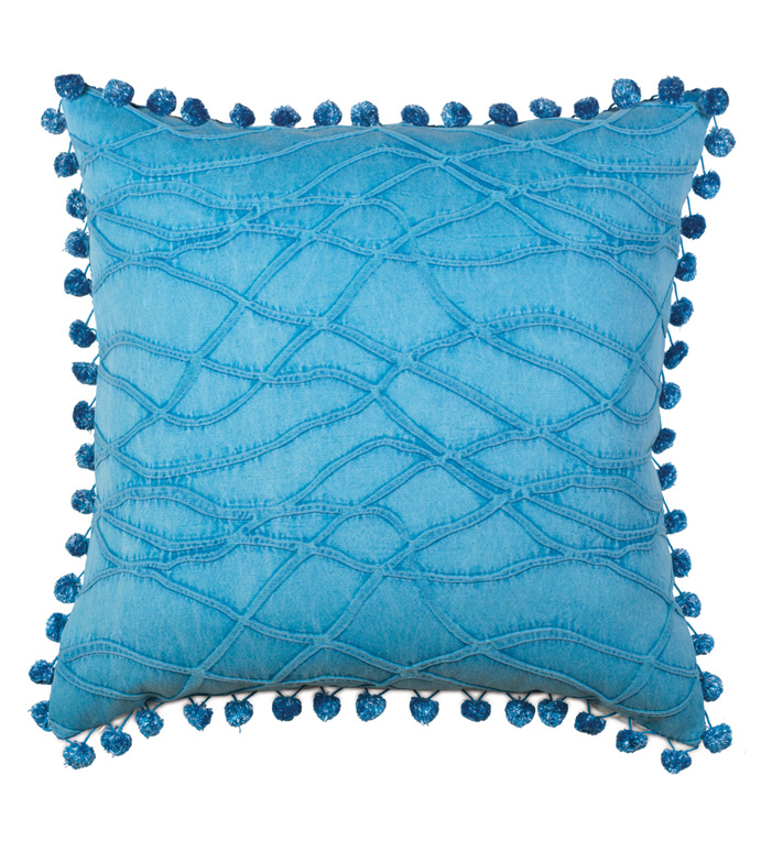 Gigi Textured Decorative Pillow - BLUE,TEXTURED,DECORATIVE PILLOW,PILLOW,THROW PILLOW,ACCENT PILLOW,BALL TRIM,TEXTURED,ABSTRACT,BLUE AND WHITE,22X22,SQUARE,100% COTTON,MADE IN USA,LUXURY,ACCESSORIES,ACCENT