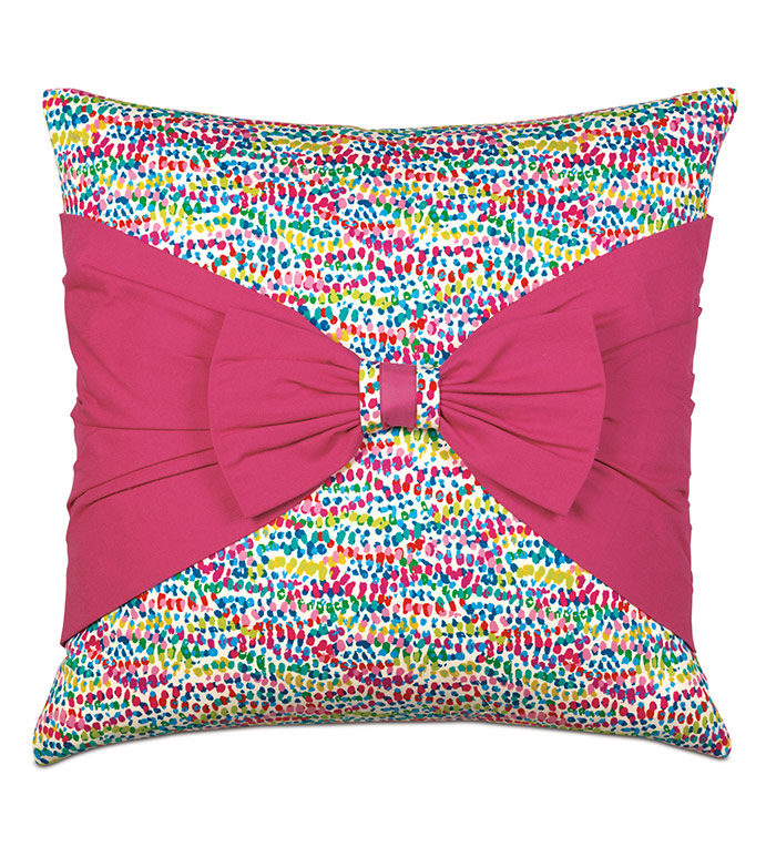 Gigi Bow Decorative Pillow - CONFETTI,POLKA DOT,BOW,PILLOW,DECORATIVE PILLOW,ACCENT PILLOW,MULTICOLORED,COLORFUL,20X20,SQUARE,ACCENT,THROW,MADE IN USA,100% COTTON,LUXURY,COLORFUL PILLOW,SPECKLED PILLOW,PINK,