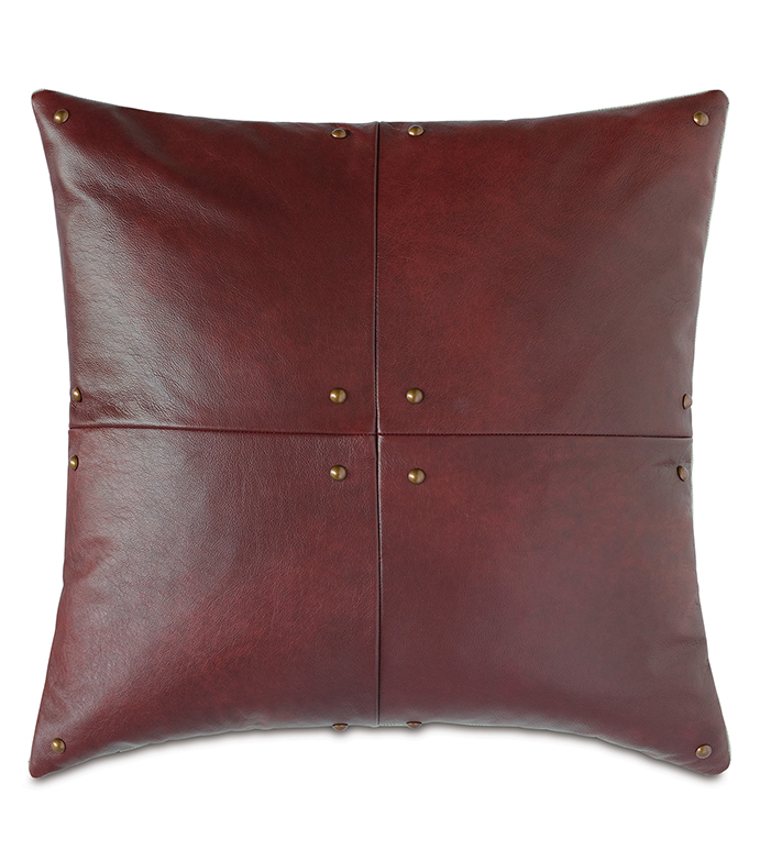 Kilbourn Leather Decorative Pillow - RED,LEATHER,PILLOW,SQUARE,20X20,RED LEATHER PILLOW,NAILHEADS,REAL LEATHER,100% LEATHER,RED LEATHER,HOME DECOR,MADE IN USA,MASCULINE,GLAM,CIGAR ROOM,LIBRARY,MOUNTAIN,LODGE,ESTATE,