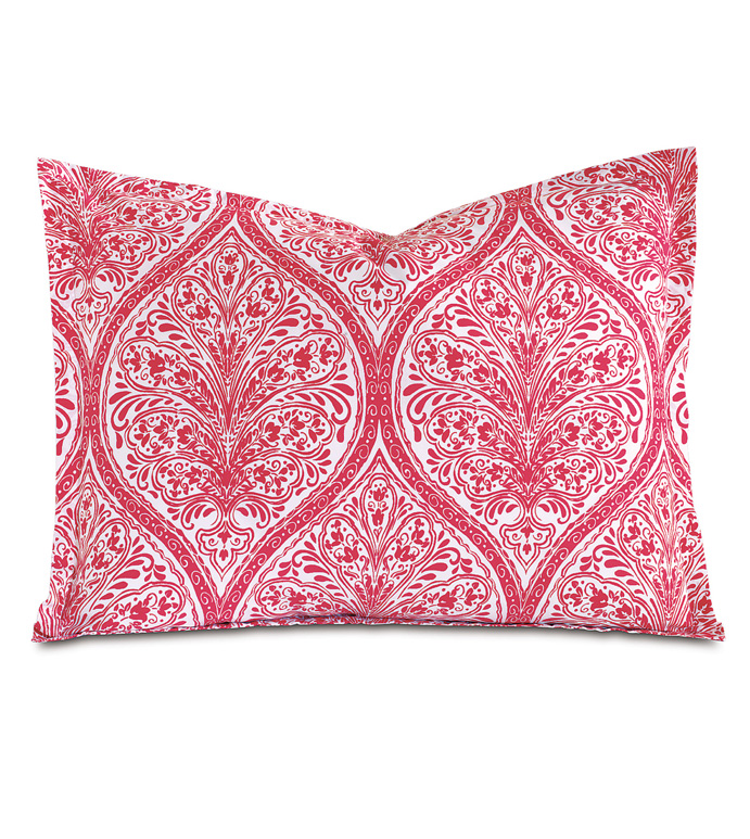 Adelle Percale King Sham In Sorbet - KING SHAM,PILLOW,DECORATIVE PILLOW,PINK,BRIGHT,COLORFUL,OGEE,MEDALLION,DAMASK,JACQUARD,EASTERN ACCENTS,PATTERNED,PRINT,LUXURY BEDDING,FINE LINENS,PERCALE,ITALIAN FINE LINENS,