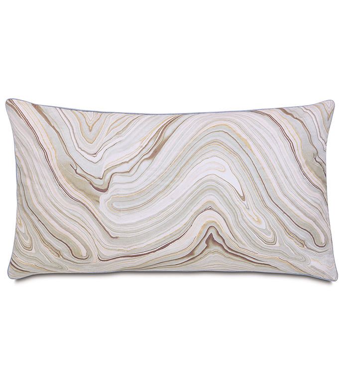 Blake King Sham - KING SHAM,DECORATIVE PILLOW,RECTANGLE,AGATE CRYSTAL PRINT,FACE DESIGN,PATTERNED,GREY,WHITE,BLUE,LAVENDER,YELLOW,METALLIC,MARBLE DESIGN,BEDDING,HOME DÉCOR,CONTEMPORARY,SILVER