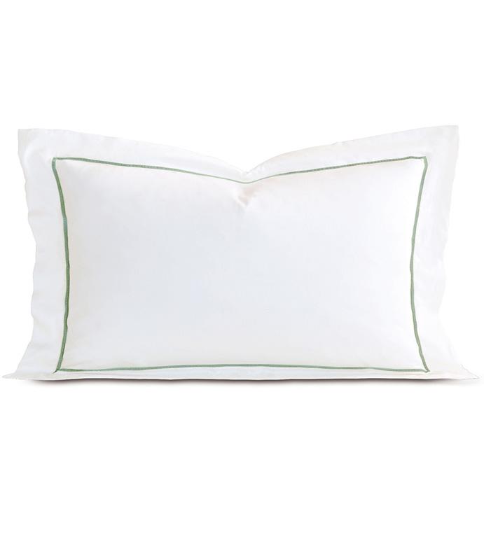 Linea Velvet Ribbon King Sham In White & Aloe - ,