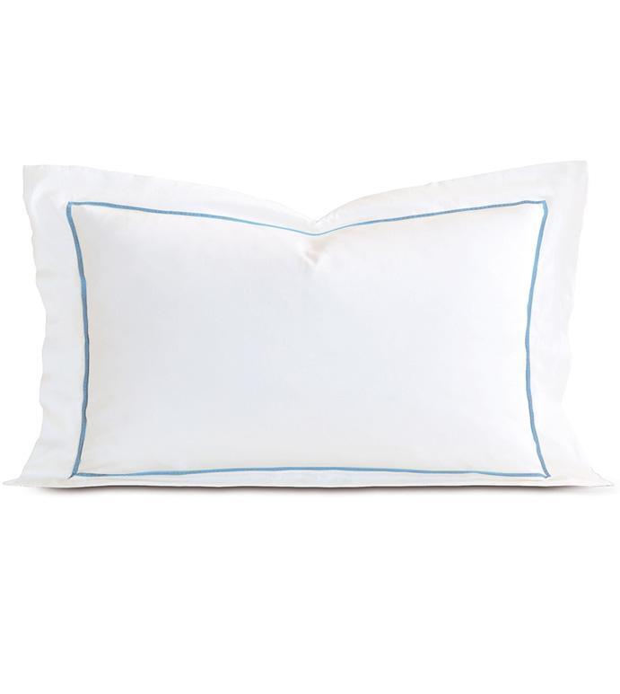Linea Velvet Ribbon King Sham In White & Azure - ,