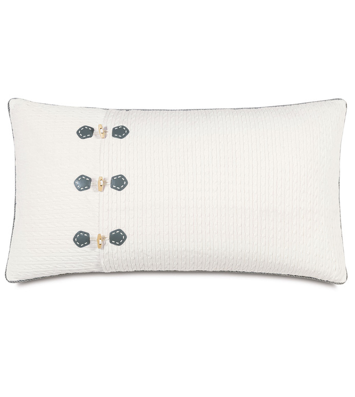 Jude Ivory King Sham (Left) - PILLOW,LEFT PILLOW,THROW PILLOW,KING PILLOW,NAUTICAL PILLOW,DECORATIVE PILLOW,KING SHAM PILLOW,BUTTON PILLOW,MARINE PILLOW,MASCULINE PILLOW,PREPPY PILLOW,TOSS CUSHION,KING SHAM