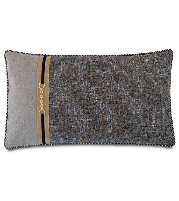 Rosenthal Dusk King Sham Left - NAVY AND GREY KING SHAM,TRADITIONAL STYLE BEDDING,CLASSIC BEDDING,HANDSOME NAVY PILLOW,MENS ROOM BEDDING,LEATHER ACCENT,MENS TRADITIONAL BEDDING,NEUTRAL,GOLD,BUCKLE ACCENT