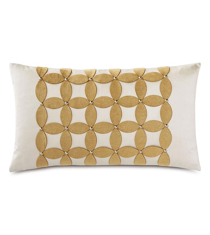 Marceau Applique Decorative Pillow - ,RECTANGLE PILLOW,DECORATIVE PILLOW,OVERSIZED PILLOW,APPLIQUE,LASER CUT APPLIQUE,NAILHEADS,GOLD THROW PILLOW,LUXURY PILLOW,