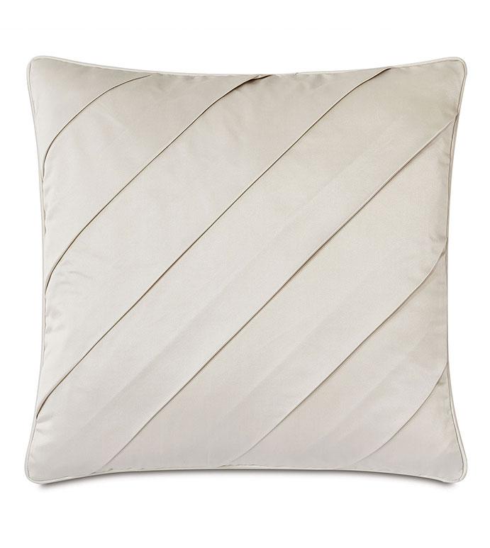 Marceau Diagonal Pleat Decorative Pillow - ,PLEATS,PLEATED PILLOW,SQUARE PILLOW,SATIN PILLOW,LUXURY THROW PILLOW,CREAM PILLOW,LARGE PILLOW,DECORATIVE PILLOW,SATIN DECORATIVE PILLOW,WHITE THROW PILLOW,DIAGONAL STRIPE,TEXTURE
