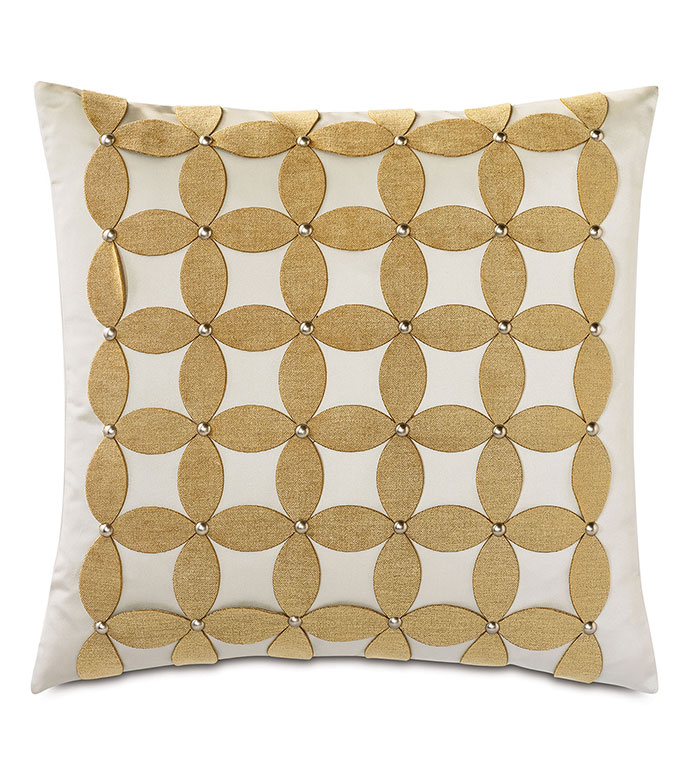 Marceau Applique Decorative Pillow - ,SQUARE PILLOW,DECORATIVE PILLOW,LARGE PILLOW,APPLIQUE,LASER CUT APPLIQUE,NAILHEADS,GOLD THROW PILLOW,LUXURY PILLOW,GLAM,FLORAL,VELVET,GOLD VELVET,GOLD VELVET FLORAL PATTERN,LUXURY