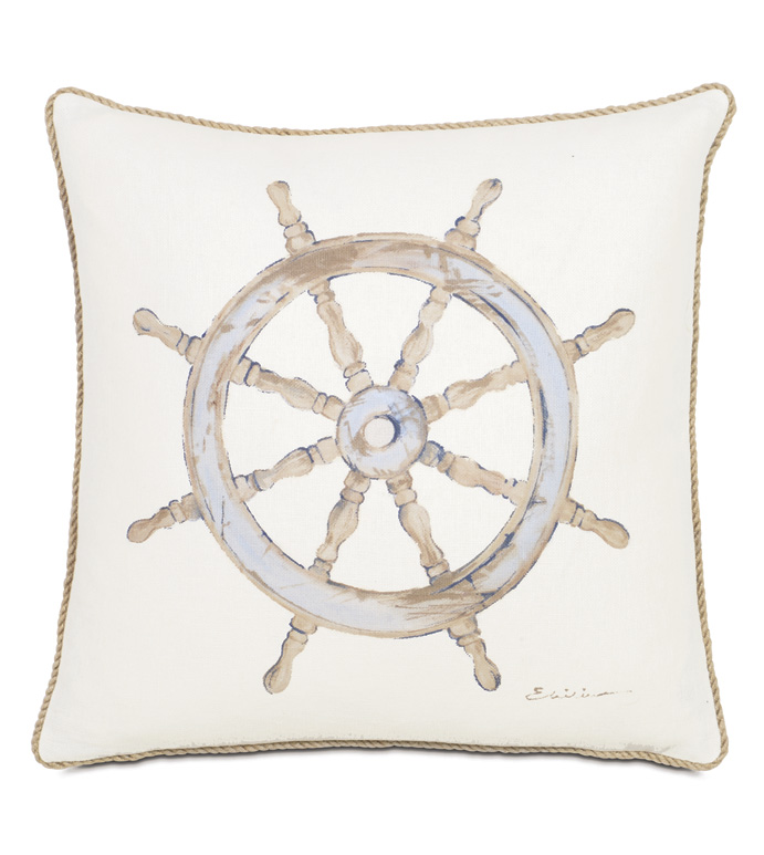 Maritime Hand Painted Ship'S Wheel Accent Pillow In Ivory - ACCENT PILLOW,THROW PILLOW,ACCENT PILLOW,EASTERN ACCENTS,IVORY,LINEN,SOLID,HAND PAINTED,SHIP'S WHEEL,