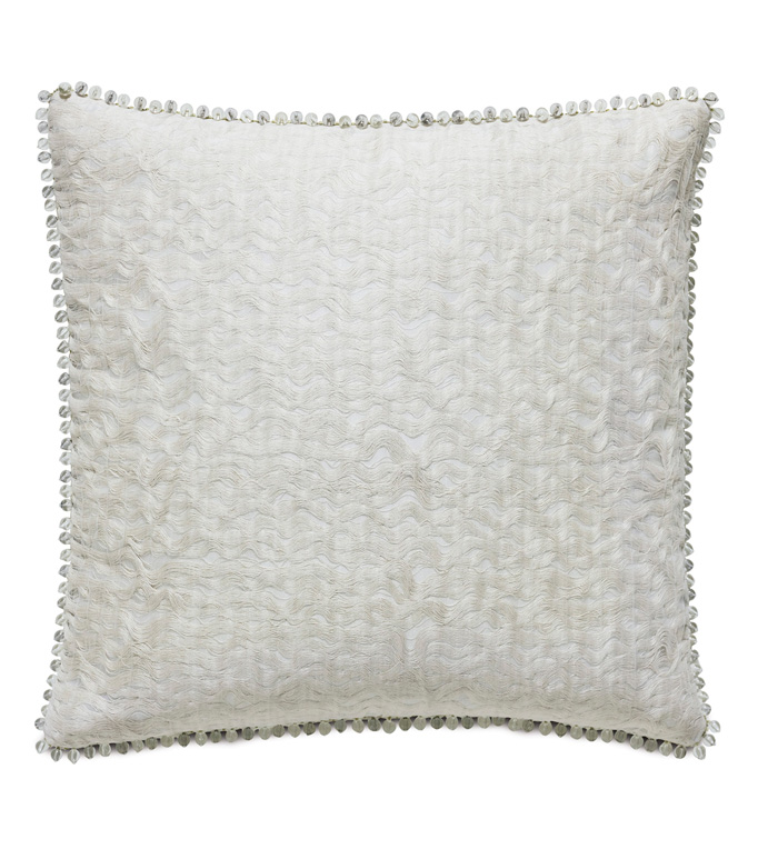 Naomi Glam Euro Sham In Ivory - ACCENT PILLOW,THROW PILLOW,EURO SHAM,EASTERN ACCENTS,IVORY,GLAM,TEXTURED,ABSTRACT,BEADED,