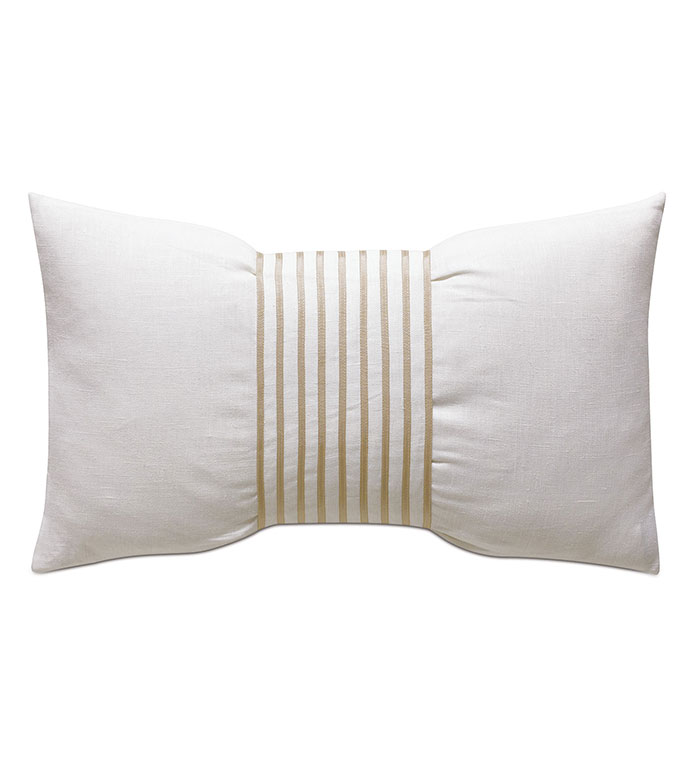Naomi Linen Accent Pillow In Ivory - ACCENT PILLOW,THROW PILLOW,ACCENT PILLOW,EASTERN ACCENTS,WHITE,GLAM,100% LINEN,SOLID,APPLIQUE,KNIFE EDGE FINISHING,