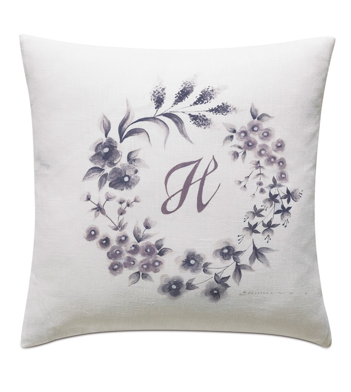 Naomi Hand Painted Monogram Accent Pillow In White - ACCENT PILLOW,THROW PILLOW,ACCENT PILLOW,EASTERN ACCENTS,WHITE,GLAM,100% LINEN,SOLID,HAND PAINTED MONOGRAM,