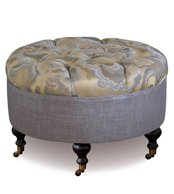 Amal Round Ottoman - SILVER,TAUPE,GREY,WELT,PATTERN,DESIGN,GLAM,MODERN,ACCENT,METALLIC,BEDROOM,BED,LUXURY BEDDING,INTERIOR DESIGN,OTTOMAN,FURNITURE,GRAY,TUFTED,BUTTON,DEEP TUFTED,ROUND,CASTERS,WOOD LEG