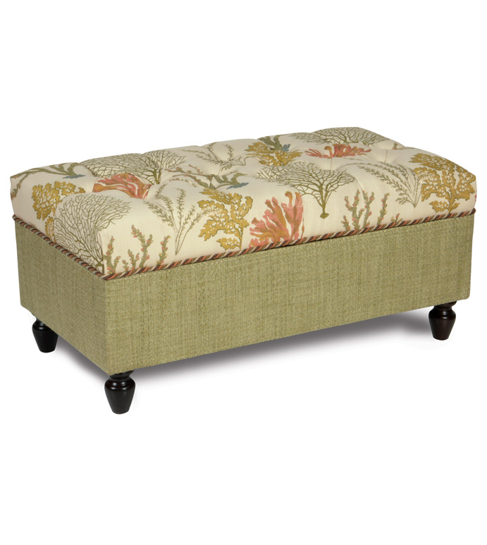 Caicos Storage Chest - TROPICAL STORAGE CHEST,TROPICAL TUFTED OTTOMAN,BEACH HOUSE OTTOMAN,TROPICAL UPHOLSTERED CHEST,GREEN AND TAN,EARTH TONE,CORAL REEF OTTOMAN,DEEP TUFTED OTTOMAN,BEACH STYLE,MUTED