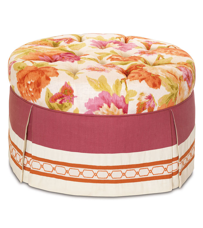 Caroline Azalea Round Ottoman - FLORAL UPHOLSTERED OTTOMAN,PINK AND ORANGE OTTOMAN,PINK TUFTED OTTOMAN,DEEP TUFTED OTTOMAN,BOTANICAL TUFTED OTTOMAN,WHITE AND PINK,FEMININE,ECLECTIC,ORANGE AND WHITE,SKIRTED
