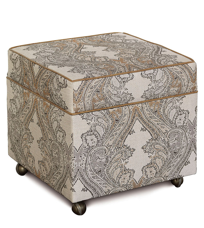 Aiden Storage Ottoman - LODGE STYLE OTTOMAN,PAISLEY OTTOMAN,COUNTRY HOME OTTOMAN,RUSTIC OTTOMAN,STORAGE CUBE OTTOMAN,STORAGE OTTOMAN,TAN PAISLEY OTTOMAN,SADDLE LEATHER,CASTER WHEELS,CLASSIC,ACCENT OTTOMAN