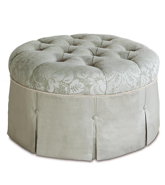 Lourde Celadon Round Ottoman