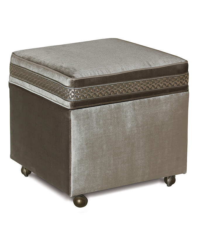 Velda Smoke Storage Boxed Ottoman - STORAGE,CUBE,VELVET,METALLIC,GLAM,GRAY,SILVER,CASTERS,CONTEMPORARY,WELT,FURNITURE,LIVING ROOM,HOME DECOR,LID,HIDDEN STORAGE,TRIM,BEDROOM,BEDSIDE,OTTOMAN,BOX,CUSHION,UPHOLSTERY
