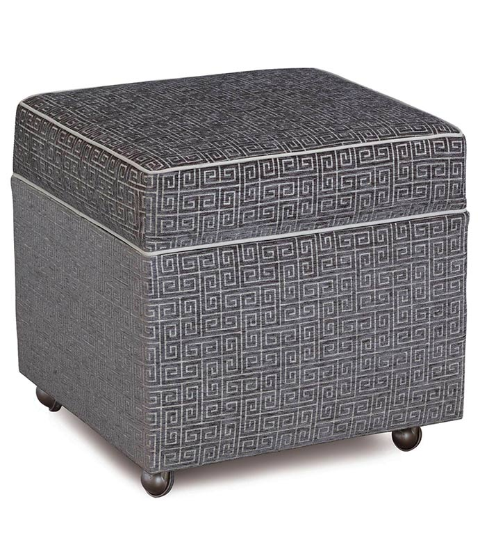 Murano Taupe Storage Box Ottoman - SILVER,TAUPE,GREY,WELT,PATTERN,DESIGN,GLAM,MODERN,ACCENT,METALLIC,BEDROOM,BED,LUXURY BEDDING,INTERIOR DESIGN,GREEK KEY,OTTOMAN,FURNITURE,STORAGE,CASTERS,CUBE,HINGE,WHEEL,UPHOLSTERY