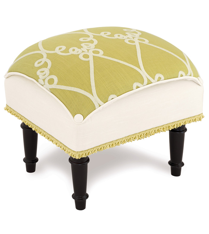 Etta Lime Pillow Top Stool - LIME GREEN FOOTSTOOL,UPHOLSTERED FOOTSTOOL,LIME GREEN TUFFET,FEMININE TUFFET.EMBROIDERED,GREEN AND WHITE,LIME GREEN,FEMININE,TUFTED FOOTSTOOL,GIRLS UPHOLSTERED OTTOMAN,BRIGHT