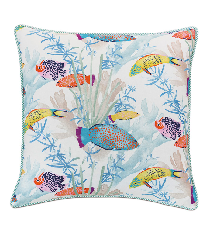 Paloma Tropical Decorative Pillow - ACCENT PILLOW,THROW PILLOW,EASTERN ACCENTS,MULTICOLORED,TROPICAL,100% COTTON,SEALIFE,COTTON,FUN,FISH,PATTERN,PRINT,LUXURY,BEDDING,PILLOW,LUXURY PILLOW
