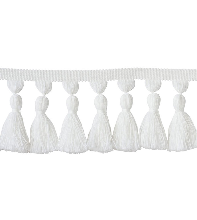 Tassel Trim Chunky White - ,WHITE TASSEL,TASSEL TRIM,WHITE TRIM,TASSEL TRIM YARDAGE,TASSEL UPHOLSTERY,DIY DECOR,TASSEL,LUXURY TRIM,WHITE TRIM,OUTDOOR TRIM,OUTDOOR TASSEL,