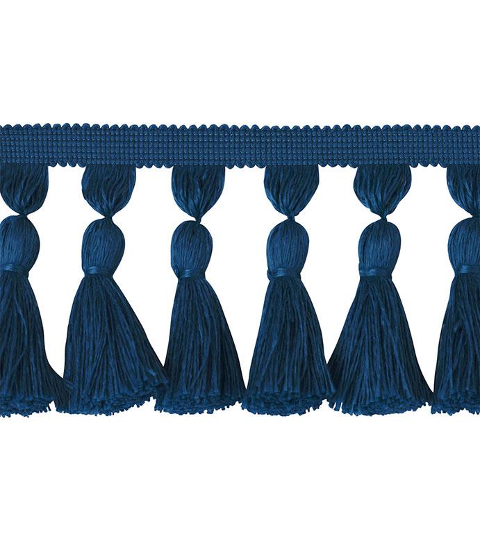 Tassel Trim Chunky Blue - ,BLUE TASSEL,CHUNKY TASSEL TRIM,TASSEL TRIM,BLUE TRIM,TASSEL TRIM YARDAGE,TASSEL UPHOLSTERY,TASSEL,LUXURY TRIM,BLIE TRIM,OUTDOOR TRIM,OUTDOOR TASSEL,